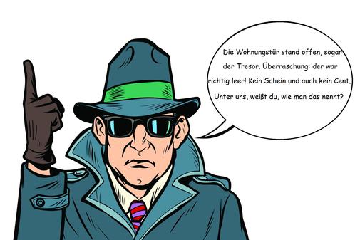 Eine männliche Comicfigur mit Hut, schwarzer Sonnenbrille und Mantel einen Kommissar darstellend. Die rechte Hand in einem Handschuh mit erhobenem Zeigefinger, in der Sprechblase eine Tatortbeschreibung.