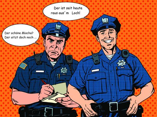 Ein Bild in Pop-Art: Zwei Männer in blauer Polizeiuniform, der eine schreibt etwas mit ernstem Gesichtsausdruck auf einen Notitzblock, der ander lacht. Der Hintergrund ist orange mit Punkten