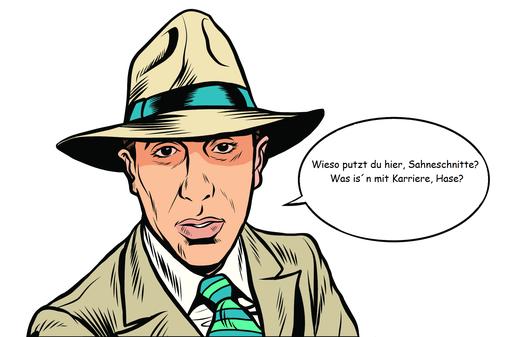 Mann mit hellem Hut, heller Anzugjacke und gestreifter Krawatte.