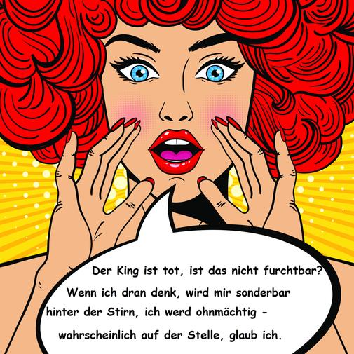Eine weibliche Comicfigur mit knallroten Haaren, Lippen und Fingernägeln. Die Hände sind am Mund, in der Sprechblase sind die Information über einen Toten und die Beschreibung ihres emotionalen Zustands