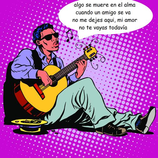 """Eine Comicfigur: Ein Gitarre spielender Straßenmusikant, auf dem Boden sitzend das Lied """"Weiße Pferde"""" singend"""
