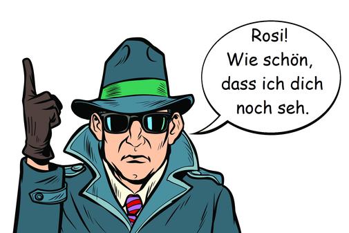 Eine männliche Comicfigur mit Hut, schwarzer Sonnenbrille und Mantel einen Kommissar darstellend. Die rechte Hand in einem Handschuh mit erhobenem Zeigefinger, in der Sprechblase begrüßt eine Frau.