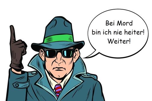 Eine männliche Comicfigur mit Hut, schwarzer Sonnenbrille und Mantel einen Kommissar darstellend. Die rechte Hand in einem Handschuh mit erhobenem Zeigefinger.