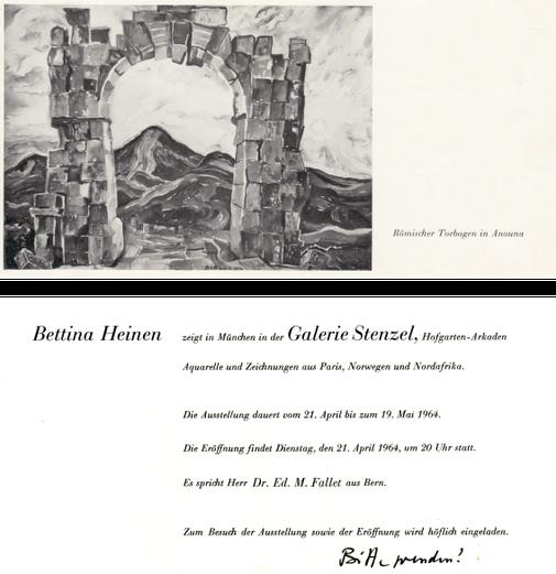 Einladungskarte zur Vernissage der Bettina Ausstellung in der Galerie Stenzel in München am 21.04.1964