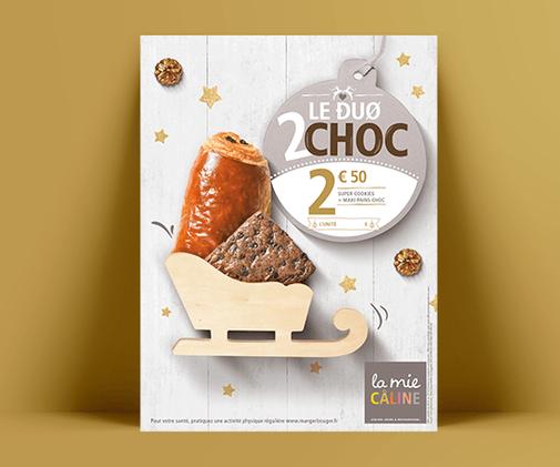 LSZ Communication - Graphiste freelance Nantes -La Mie Caline - Affiches Noel 2019- Alimentaire-Duo 2 choc