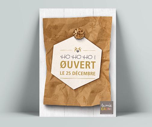 LSZ Communication - Graphiste freelance Nantes -La Mie Caline - Affiches Noel 2019- Alimentaire-Ouverture magasin