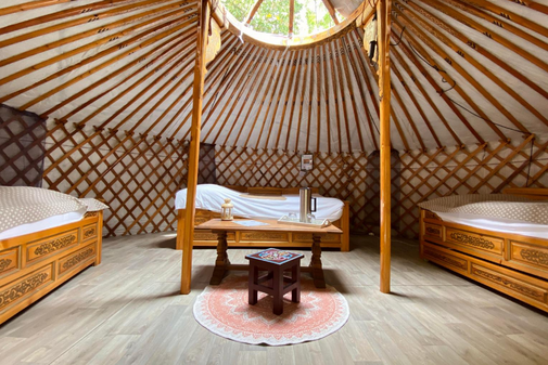 The interior of a mongolian yurt
