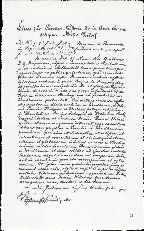 Abschrift der Dotationsurkunde, in der die Stiftung der Hordorfer Kirche durch Bruno von Brunsrode und die Auspfarrung Hordorfs aus der Parochie Wendhausen im Jahr 1299  beschrieben wird.