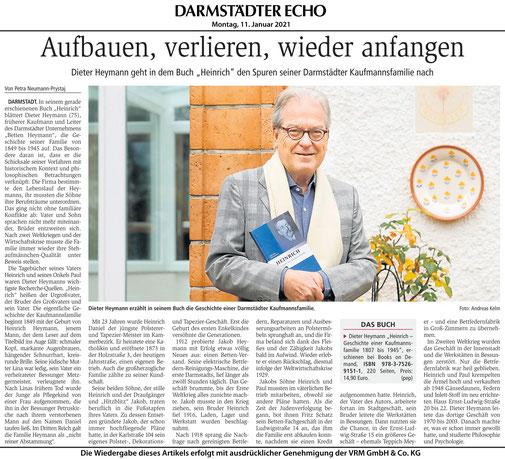 """Darmstädter Echo zum Buch """"Heinrich"""" Dieter Heymann"""