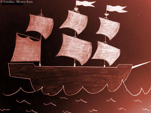 """Rot glühend und furchteinflössend. So wir das Geisterschiff, aus der Legende """"der fliegende Holländer"""", immer wieder von Augenzeugen beschrieben."""