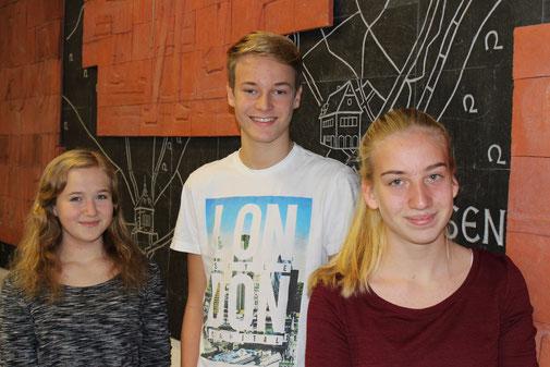 Das neue Schulsprecherteam: Sarina Göbel (2. Vertreter), Luca Schaffner (Schulsprecher), Lisanne Hardt (1. Vertreter)