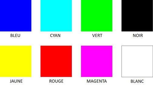 Les huit couleurs de base : cyan, magenta, jaune, rouge, vert, bleu, noir et blanc