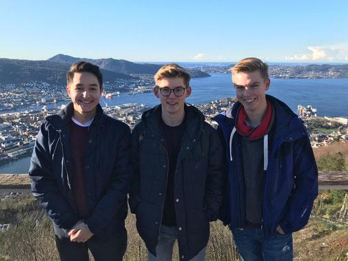 Stephan, Johannes und Hannes haben sich gut in Bergen eingelebt
