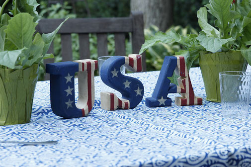 USA letters on a table on July 4th