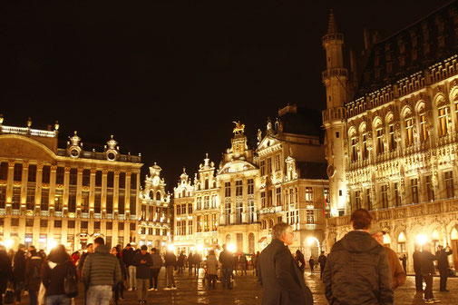 Grote Markt Brussels at night, illuminated architecture, architecture of Brussels