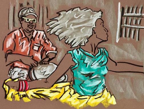 Danseuse de la Bomba,  17.5 / 24.5 cm  crayon pastel sur papier
