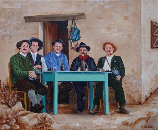 1. Les buveurs au refuge      Acrylique sur toile      38 x 46 cm      2018