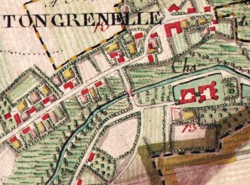 KBR, Carte de Ferraris (1770-1778), vue de Tongrenelle avec son château se trouvant sur la droite avec la ferme, entouré des douves
