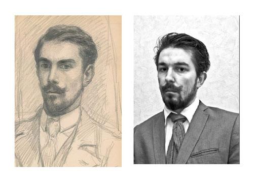 Autoportrait de Georges Lacombe 19..// Autoportrait Nicolas Blanchard 2015