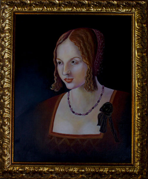 Venezianische Dame nach Dürer/Venezian Lady after Duerer, Oel auf Leinwand/Oil on canvas, 40x50 cm.