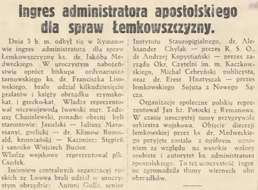jakub medwecki administrator apostolski lemkowszczyzny
