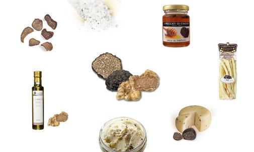 Trüffelprodukte aus frischen Trüffel: Trüffelöl, Trüffelbutter, Trüffelkäse, Trüffelpasta, Trüffelhonig, Trüffelsalz und getrocknete Trüffel