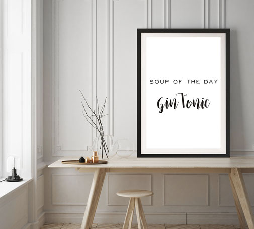 Typografie Poster, Typografie Print, Lifestyle Typografie - Gin Tonic