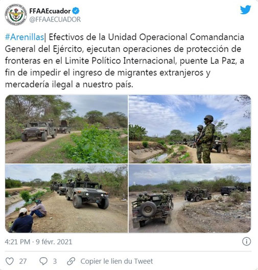 Ecuadorian soldiers posing in front of the Zarumilla canal. The Peruvian militarization of the border following Peru's public health closure seems to have created a media frenzy around the sovereign presence of both countries.