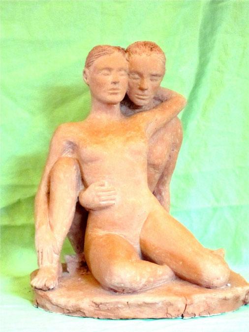 sculpture couple nu enlacé.sculpture argile 2013.nouveausculpteur.