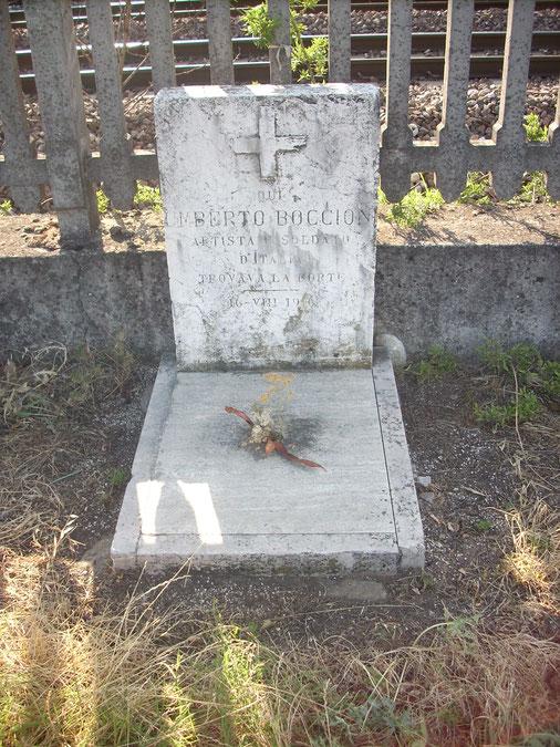 ボッチョーニが致命傷を負ったキエーヴォのソルテにある記念碑