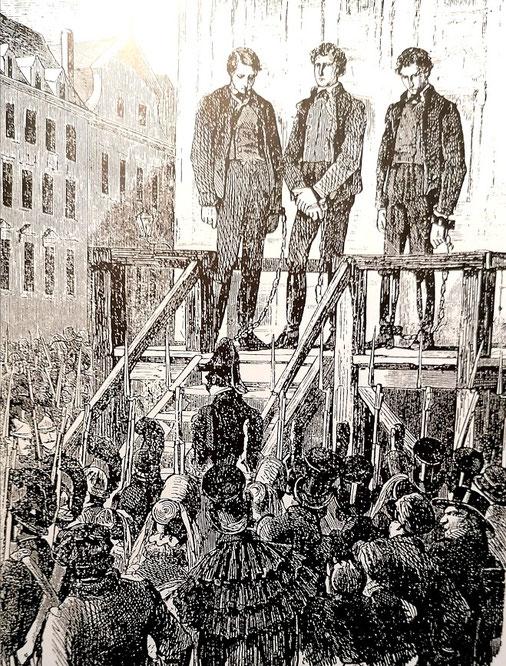 """Jakob Fähding, Johann Georg Grasel und Ignaz Stangel auf der """"Schandbühne"""" auf dem Hohen Markt vor ihrer Hinrichtung am 31. Jänner 1818."""