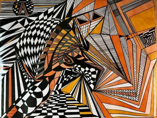 Abstraktes Fantasie abregende Arbeit auf Künstler Karton in schwarz und orange gearbeitet.