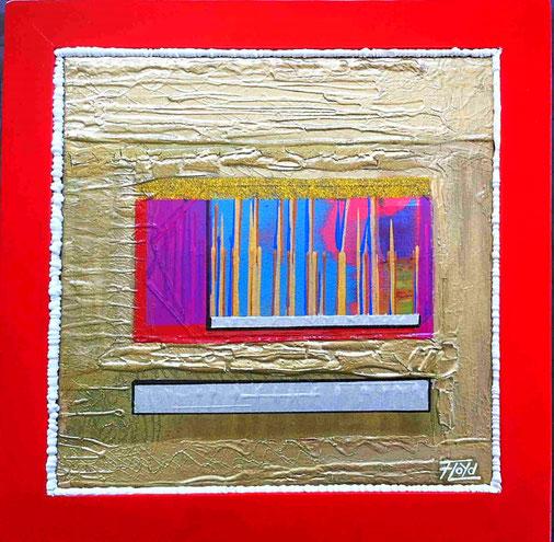 Intensives, glatt aufgetragenes Rot am Holzrahmen, der wie Zuckerguss wirkende Anschluss zur Leinwand sowie der gesamte weitere Aufbau verleiten zum anfassen des in gold und Blautöne gehaltenen, außergewöhnlichen Kunstwerks.