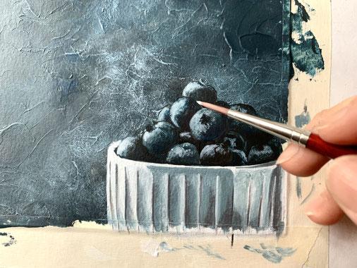 lezioni di pittura acrilica, corsi di pittura acrilica on-line, mirtilli dipinti, pittura dettaglio, Et volià scuola di pittura per chi scombina le regole