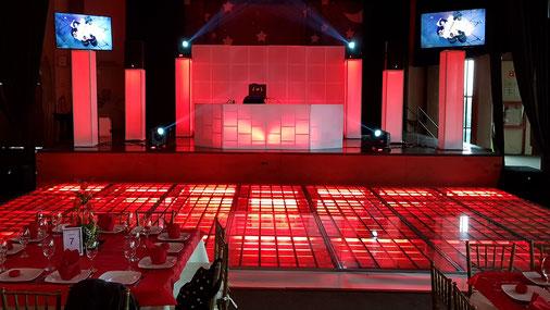 KLS pista iluminada en rojo con barras de led