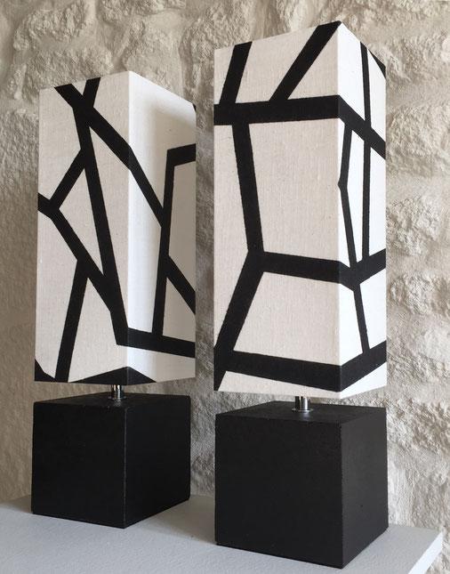 Béton noir et abat-jour articulé - Hauteur abat-jour compris 37 cm