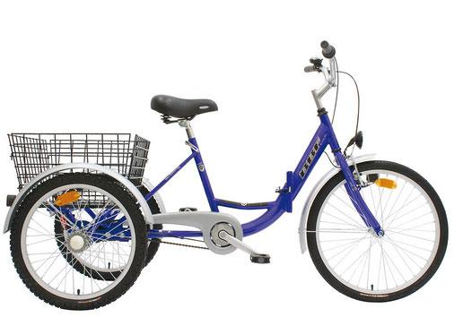Dreirad mit großem Gepäckkorb – Lydias Fahrradverleih auf Sylt