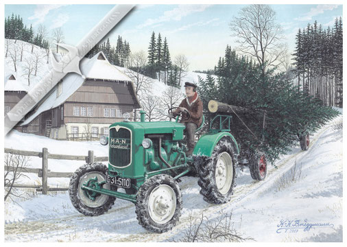 MAN A 25 A mit Weihnachtsbaumtransport im Schwarzwald, 1955, Aquarell.