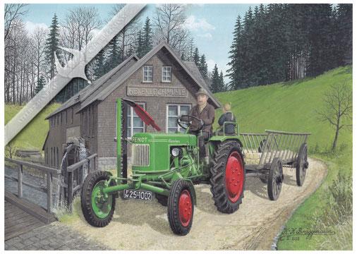 Fendt F 12 HL voe der Hexenlochmühle, Schwarzwald 50er Jahre, Aquarell.