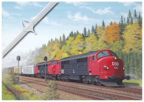 NOHAB Diesellok, DSB 1040 / 1004 MX vor Güterzug auf Lolland in den 90ern, Aquarell.