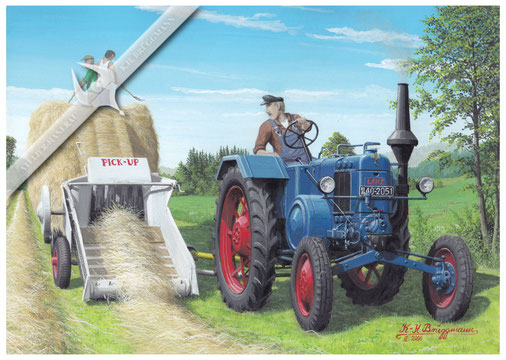 Lanz HN 3, D 7506 mit Claas Pick-Up Presse in den 50ern, Aquarell.
