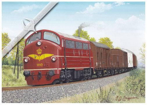 NOHAB Diesellok, DSB 1112 MY im schweren Güterzugdienst in den 60ern, Aquarell.