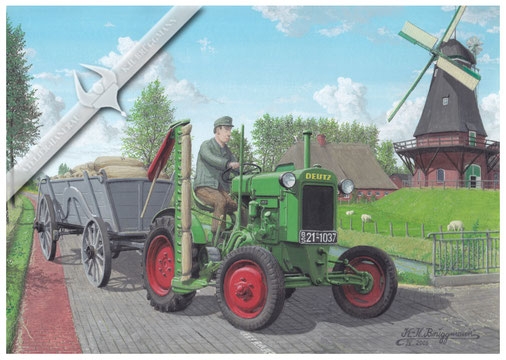 Deutz F 1 M 414 (11er-Deutz) bringt Getreide zur Mühle, 50er Jahre, Aquarell.