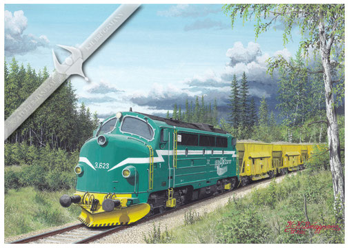 NOHAB Diesellok, Ofotbahn 623 mit Schotterzug 2004, Aquarell
