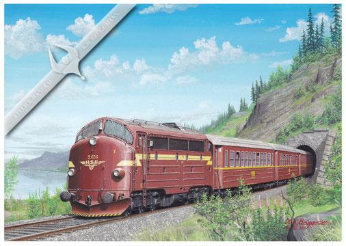 NOHAB Diesellok NSB 626 mit Schnellzug, Ende der 60er, Aquarell.