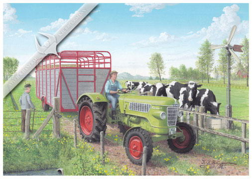 Fendt Farmer 2, anfang der 70er Jahre, Aquarell.