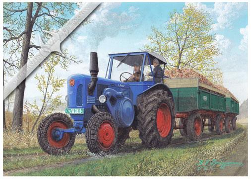 Lanz D 6006 beim Futterrübentransport, 1959, Aquarell.