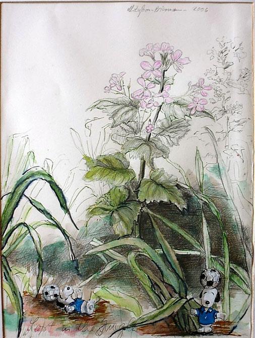 Bild Püppchen zwischen Gras und Blumen