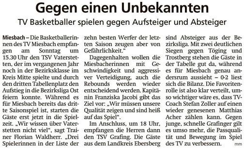 Artikel im Miesbacher Merkur am 20.10.2018 - Zum Vergrößern klicken