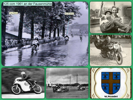 Bildcollage vom Rennen der 125ccm an der Fausenmühle 1961
